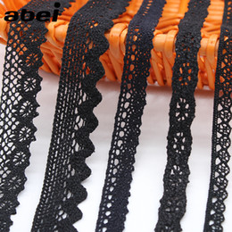 clothes embellishment Australia - 10yards lot 1-2.5cm Black Cotton Lace Fabric Furnishing Wrap knitting Embellishments DIY Clothes Bags Ornaments Handmade Trims