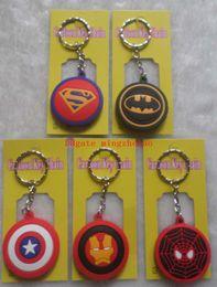 Batman Figure Wholesale Australia - 12pcs Super Hero Batman Spiderman Superman Captain America Rubber Cell Phone Keychain Fashion Pendant Figure Model Accessories Xmas Gifts
