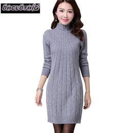 eb9ceaad83d New Fashion Women Autumn Winter Slim Sweater Dress Female Turtleneck Long  Sleeve Medium-long Knitted Pullover One Piece Dress