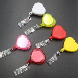 Wholesale Heart Shape Retractable ID Badge Reel Fashion Doctor Nurse Student Name Tag Card Badge Holder Clip Y0041