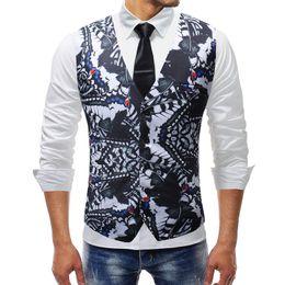 Men Suits Flowers Australia - Men Clothes 2019 New Chalecos Para Hombre Men Fashion Print Flower Vest Casual Suit Dress Vest Business Colete Masculino