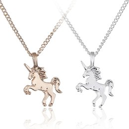 $enCountryForm.capitalKeyWord Australia - New Fashion Gold Silver Women Unicorn Horse Pendant Necklace Plating Chain Choker Christmas Jewelry Lovely Gift DHL FJ437