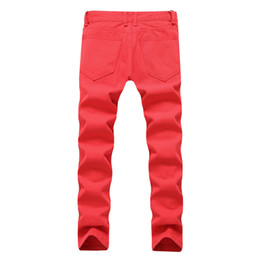 plus size destroyed jeans Australia - Dropshipping Men Red White Ripped Denim Pant Knee Hole Zipper Biker Jeans Plus Size Men Slim Skinny Destroyed Pants Cotton Jeans