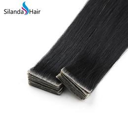 $enCountryForm.capitalKeyWord Australia - Silanda Hair High Quality Jet Black #1 Straight PU Skin Weft Tape Remy Human Hair Extensions For Sale 20 Pcs Pack Free Shipping