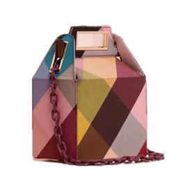 Phone Chain Color Australia - Ins Acrylic Chains Box Bag For Women Winter Corduroy Color Plaid Printing Handbags Ladies Girls Shoulder Bags Brands Design Chic