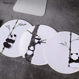 Mouse pads custoM online shopping - Yuzuoan Cute Panda And Bamboo White Lock Edge Round mouse pad small size Rubber Soft Gaming Mouse Table Mat Custom Your Styles