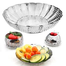 steamers vegetables Australia - Cookware Stainless Steaming Food Basket Mesh Stainless Steamer Folding Food Fruit Vegetable Vapor Cooker Dish Steamer