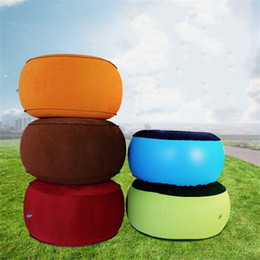 Wholesale Stools Chairs Australia - Outdoor Inflation Stool Flocking Camping Car Chair Soft Breathable Cushion Portable Picnic Orange Blue Green Keep Warm 22kz D1