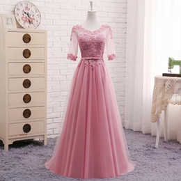 Red Grey Evening Dresses Australia - A-line Half Sleeves Lace Elegant Evening Dresses Prom Party Dress Blue Pink Grey White Red Evening Gown Long Formal Dress Dr05 Y19042701