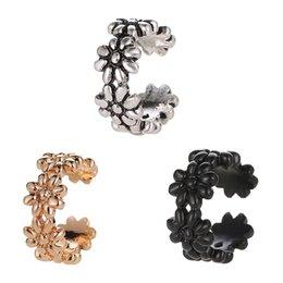 Hollow flower cuff online shopping - 3 Colors Hollow Metallic Flower Linked Champagne Golden Silver Crystal Ear Cuff Fashion Women Clip Earrings