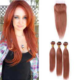 dark brown lace closure color Canada - Copper Red Hair Bundles and Closure Peruvian Straight #33 Dark Auburn Weaves Human Hair Extensions with Reddish Brown Lace Closure 4x4