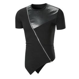 c6df95be5 Men Summer Leisure T-shirts Fashion Leather Stitching Short Sleeve T Shirt  Cotton Zipper Decoration Irregular Personality Tee J190524