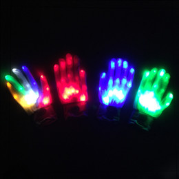 Rave light up toys online shopping - Cool LED Rave Flashing Gloves Glow Light Up Finger Tip Lighting Glove Christmas Halloween Wedding Decoration