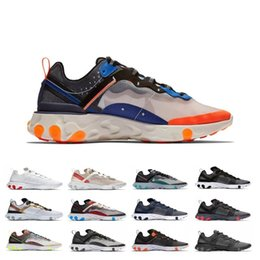 art for sale cheap UK - Cheap 87 React Element 55 Running Shoes For Men Women Triple Black Sail Solar Red Total Orange Designer Trainer Sport Sneakers Online Sale