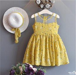 Wholesale Chinese Hat Australia - Designer INS Little Girls Floral Mesh Dresses With Hat 2pieces Set Sleeveless Summer Round Lace Collar Quality Child Students Clothing 3-8T