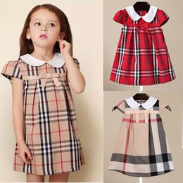 Wholesale Famous Brand Plaid Kids Clothing Cap Sleeves Summer Baby Girl Clothes A line Girl s Dresses Princess Dress Vestidos Multiple Colour