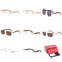 18ba7c3aee9 Rimless Wooden Sunglasses Gold Optical Buffalo Horn Eyeglasses Spectacle  Frame Reader Clear Lens Prescription Shades Cycling Mirror C47
