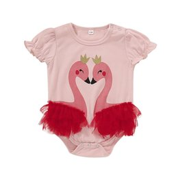cute toddler onesies 2019 - INS Cute Toddler Baby Girls Rompers Summer Ruffles Short Sleeve Cygnet Crown Silk Jumpsuits Cotton Bodysuits Onesies 0-2