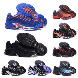 shoe size 46 UK - TN Pus Triple Black White mens womens Running Shoes blue red runners Mens Trainers jogging breathable Sneakers size 40-46