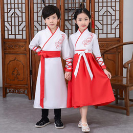 girls chinese costumes Australia - Ancient Hanfu Kids Dance Costume Adult Folk Dress for Girl Boy Traditional Chinese Clothes Style Festival Outfits Fancy Stage