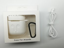 Wholesale Boxes Packaging Australia - Protective Headphone Case Shell Cover Carabiner Car Keychain for airPods Bluetooth Headset Charging Box With Package Anti dropping rope