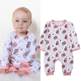 Wholesale INS Girls Rompers Jumpsuits Baby Clothes Sleepsuit Bodysuit Cartoon Owl long Sleeve Tops long Pants Jumpsuit Kids Clothing XY176
