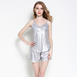 Hot Ladies Sexy Spaghetti Strap Pajamas Set Tops Shorts Sleepwear Women Lace  Satin Silk Nightwear Home Clothing Pijama Summer 13bc1daa6