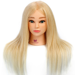 Heads for wigs online shopping - 100 Real Hair Hair Salon Models Made Wigs Female Mannequin Head Display Training Head For Hairdressers Table Clamp SH190727