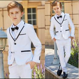 cheap black vests 2019 - New Fashion White Litter Boys Wedding Suits Tuxedos Formal Wear Notch Lapel Boy Kids Prom Birthday Party Suits Cheap (Ja