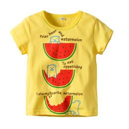 $enCountryForm.capitalKeyWord Australia - Latest Infant Baby Children's wear Summer Boy Solar Bear Watermalon White and Yellow shirt Design Cartoon T- shirt block shirts