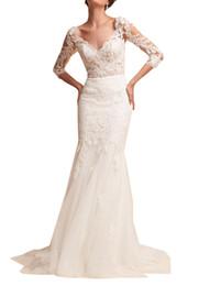 $enCountryForm.capitalKeyWord UK - Gorgeous Sweatheart Mermaid Lace Applique Sweep Train 3 4 Long Sleeves Covered Button Sweep Train Wedding Dresses Elegant Wedding Gowns