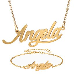 """Name Plate Jewelry Sets Australia - Fashion Jewelry Stainless Steel Name Necklace + Bracelet Set """" Angela """" Script Letter Gold Choker Chain Necklace Pendant Nameplate Gift"""