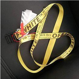 Venta al por mayor de 17ss INDUSTRIAL París amarillo cinturón BLANCO impresión hombres mujeres Disfraces Cosplay Cinturones Lona bordada para hombre cinturón 365