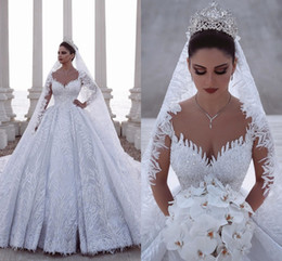 Beaded fitted wedding gowns online shopping - 2020 Luxurious Beaded Arabic Ball Gown Long Sleeves Wedding Dresses Lace Tulle D Appliques Sequins Fitted Bridal Gowns Plus Size