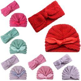 Hand Crochet Baby Beanies Australia - New baby Crochet Knit Hat Autumn Winter 2pcs set Baby Headbands Newborn Beanies Head Bands Infants Hand Knitted Caps Baby Girl Hats A2641
