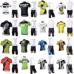 Wholesale SCOTT team Cycling Short Sleeves jersey bib shorts sets clothing breathable outdoor mountain bike free delivery U40241