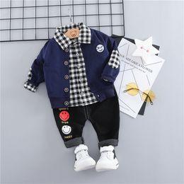 $enCountryForm.capitalKeyWord Australia - HYLKIDHUOSE 2019 Baby Girls Boys Clothing Sets Toddler Infant Clothes Suits Face Coats Plaid Shirt Pants Children Costume