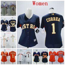 Gold jerseys online shopping - Women Lady Houston Carlos Correa Jersey Astros Alex Bregman George Springer Jose Altuve Nolan Ryan Justin Verlander Gold Program Jersey