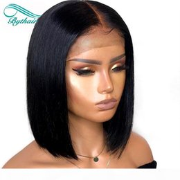 u part virgin hair bob wigs UK - Bythair Short Bob Silky Straight Peruvian Human Hair Full Lace Wigs Baby Hairs Pre Plucked Natural Hairline Lace Front Wig Bleached Knots
