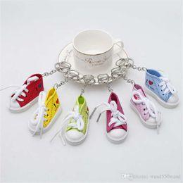 $enCountryForm.capitalKeyWord Australia - Color 3D Sneaker Keychain Novelty Canvas Shoes Key Ring Shoes Key Chain Holder Handbag Pendant Favors