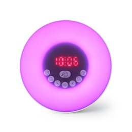 Supply Wake Up Light Table Clock Wireless Bt Lighting Speaker Rgb Color Changing Table Desk Clock Support Tf Card Fm Radio Clocks Home & Garden