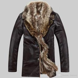 Mens sheepskin leather jacket online shopping - Raccoon Fur Coats Long Shearling Jackets Mens Winter Real Leather Jackets Fur Collar Thicken Warm Outerwear Snow Tops Windbreaker Big Sizes
