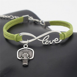 $enCountryForm.capitalKeyWord Australia - Hot New Bijoux Punk Vintage Green Velvet Suede Leather Infinity Love Shoot Basketball Hoop Rim Sport Bracelet Bangles Women Men Jewelry Gift