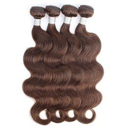 ChoColate hair weave 16 inCh online shopping - Color Chocolate Brown Human Hair Bundles Brazilian Virgin Body Wave Hair Weaves Bundles inch Remy Human hair extensions
