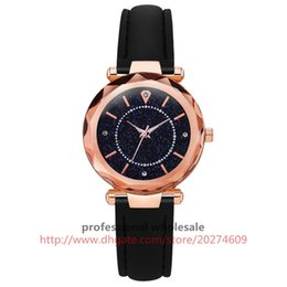 Wrist Watches Logos Australia - Alloy Case Diamond Circle Luxury Starry Sky Dial No Logo Lady Fashion Vogue Mat Leather Band Wrist Watch