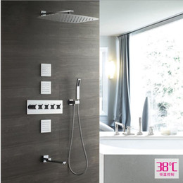 contemporary metal wall Australia - High Quality 55x35CM Rectangular Showerhead Faucet Kit Thermostatic Conceal Wall Mounted Body Jets Shower Set Rainfall Shower Panel