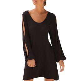 9ab2293fee8 Женское черное повседневное платье с вырезом с вырезом с длинным рукавом и  сплошным платьем 2019 Свободное летнее пляжное платье  RN