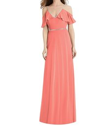 $enCountryForm.capitalKeyWord UK - Eye-catching A-Line Long Coral Bridesmaid Dresses 2019 Beaded Wedding Guest Dress With Spaghetti Straps Zipper Back Cheap Bridesmaids Gowns