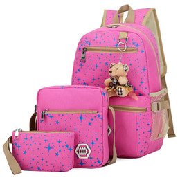 $enCountryForm.capitalKeyWord UK - 3pcs set Composite Bag Preppy style Backpack Fashion For Teenage Girl Canvas School Bags Cute Bear 3 Set Backpack Female shoulder mochila