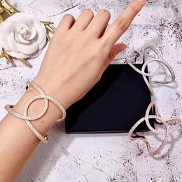 rose shaped bracelet NZ - Luxury style Party item geometric shape bangle with full diamonds for women Copper silver Rose Gold overlap bracelet fine jewelry